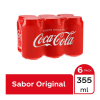 Refresco Coca Cola 6 latas de 355 ml c/u