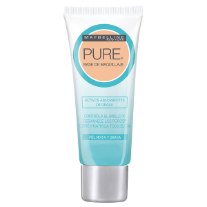 Base de maquillaje maybelline pure beige claro piel mixta y grasa anti imperfecciones 30 ml