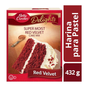 harina para preparar pastel betty crocker chocolate  red velvet 432 g