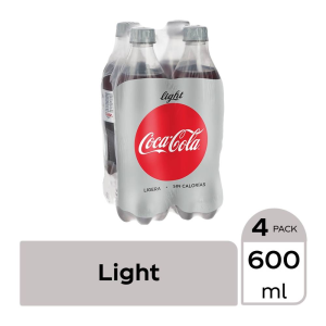 Refresco Coca Cola light 4 botellas de 600 ml c/u