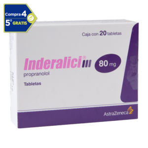 Inderalici tabletas 20 pzas de 80 mg c/u