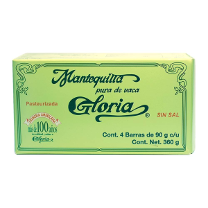 gloria mantequilla solida sin sal 360 gr bar