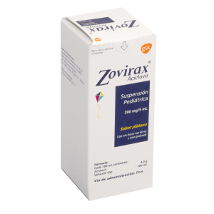 Zovirax suspensión pediátrica 200 mg/5 ml sabor plátano 60 ml