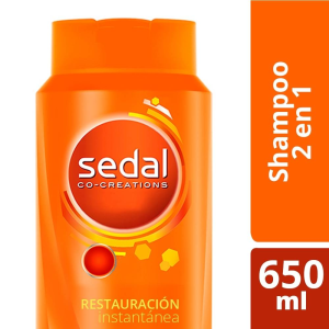 shampoo sedal co creations 2 en 1 restauración instantánea 650 ml