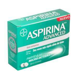 Aspirina Advanced 500 Mg Oral 20  Tabletas