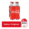 Refresco Coca Cola 4 botellas de 600 ml c/u