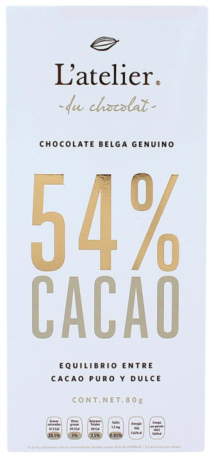 chocolate l´atelier 54% cacao barra 1 p